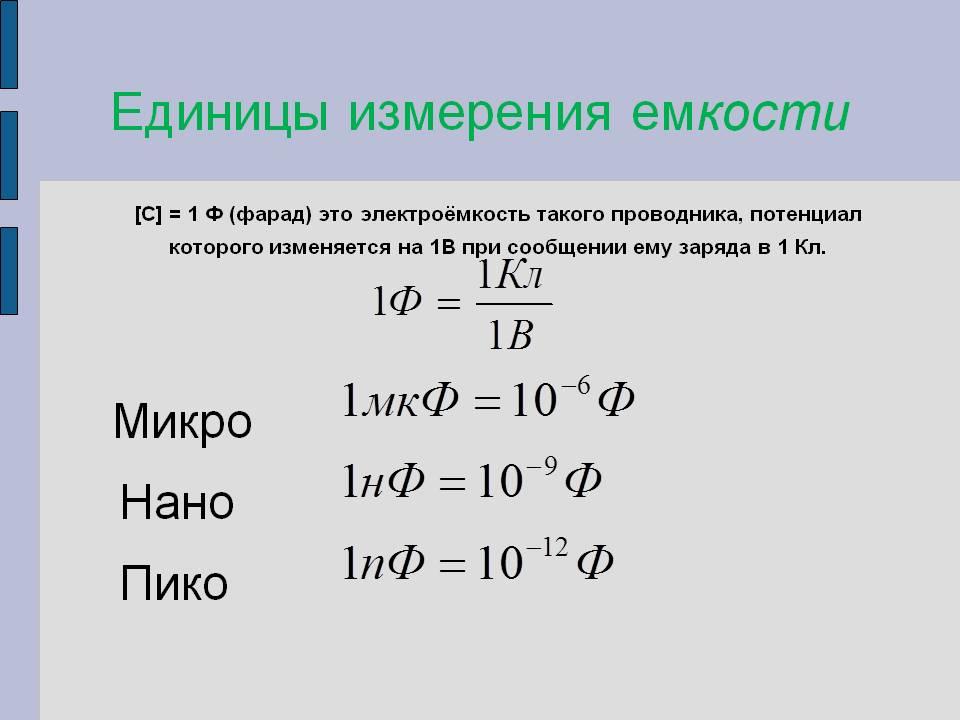 Таблица измерения ёмкости