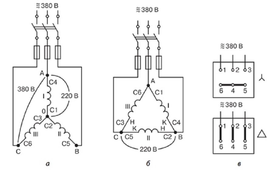 Включение мотора в трёхфазную сеть