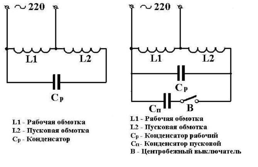 Схема для запуска однофазного двигателя