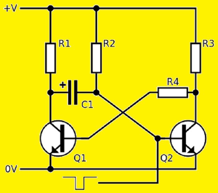 Моностабильный мультивибратор на транзисторах