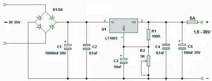 Схема БП на LT 1083
