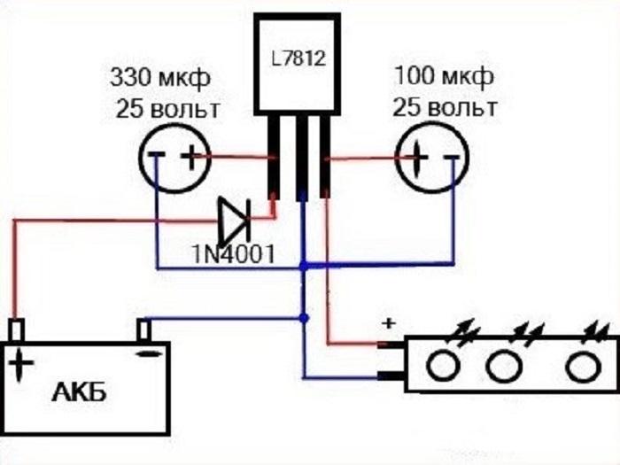Схема стабилизатора 12 В на ИМС L7812